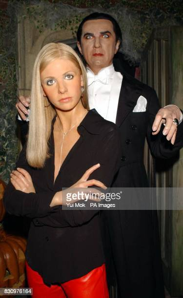 A new waxwork model of Buffy The Vampire Slayer on display with a waxwork of Count Dracula at Madame Tussaud's in central London *Played on...