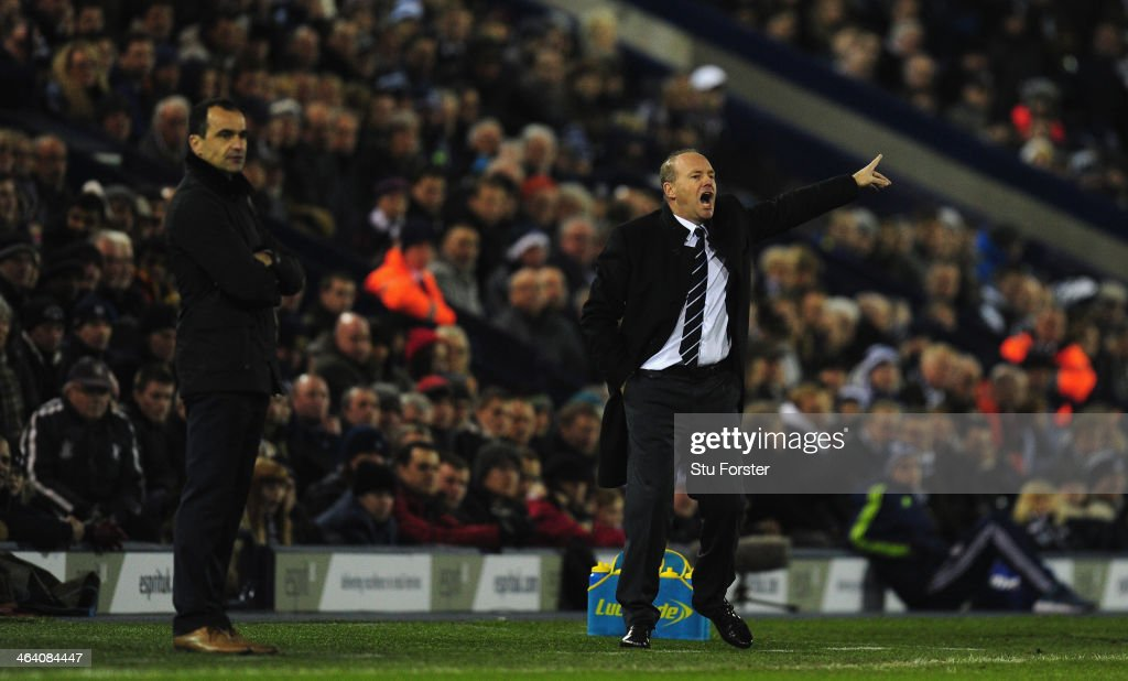 New West Brom manager Pepe Mel (r) reacts alongside Everton manager Roberto Martinez during the Barclays premier league match between West Bromwich Albion and Everton at The Hawthorns on January 20, 2014 in West Bromwich, England.