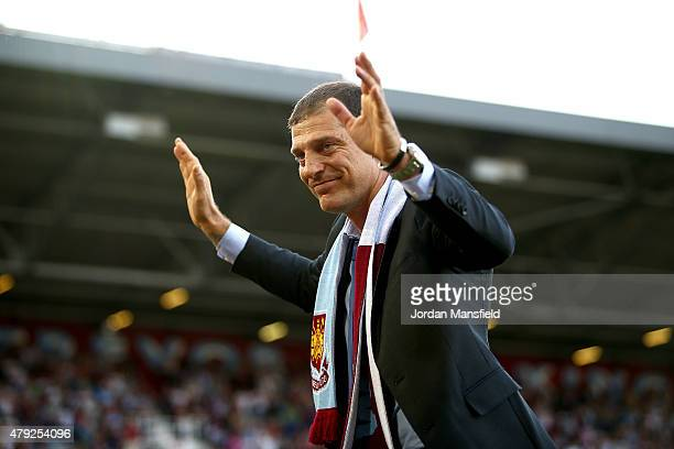 New West Ham manager Slaven Bilic is announced to the crowd ahead of the UEFA Europa League match between West Ham United and FC Lusitans at Boleyn...