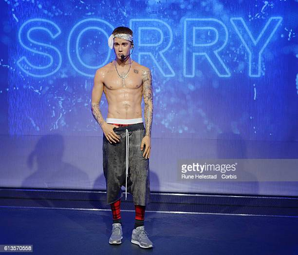 New 'wet look' Justin Bieber figure is unveiled at Madame Tussauds on October 9 2016 in London England