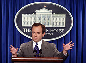 New White House Press Secretary Scott McClellan answers reporters' questions during the daily briefing at the White House