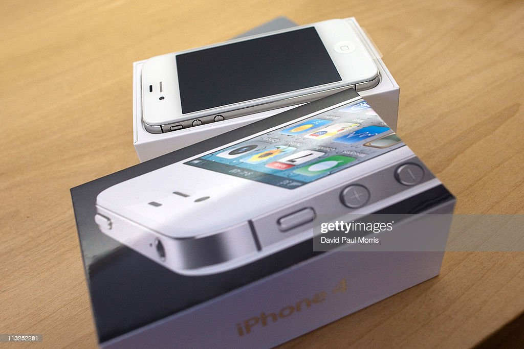 A new white iPhone 4 waits to be activated at the Apple store April 28, 2011 in Palo Alto, California. The long awaited white iPhone, first announced in June of 2010, went on sale worldwide for the first time today.