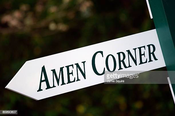 A new white sign pointing to Amen Corner is seen during the second round of the 2009 Masters Tournament at Augusta National Golf Club on April 10...