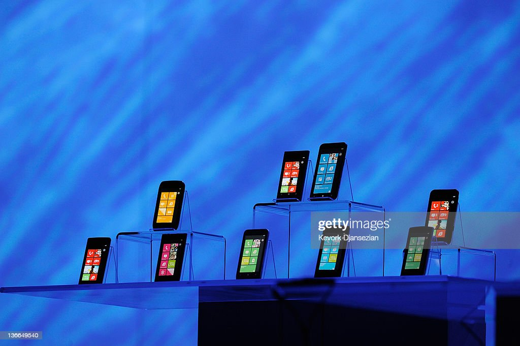 New Windows phones are on display during Microsoft CEO Steve Ballmer's keynote address at the 2012 International Consumer Electronics Show at The Venetian January 09, 2012 in Las Vegas, Nevada. CES, the world's largest annual consumer technology trade show, runs through January 13 and is expected to feature 2,700 exhibitors showing off their latest products and services to about 140,000 attendees.