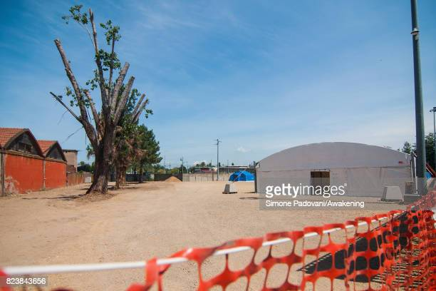 A new wing is being built to enlarge the capacity of the Hub CARA Asylum Seeker arrival centre on July 27 2017 in Bologna Italy In an effort to...