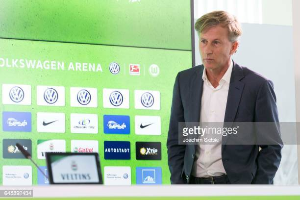 New Wolfsburg head coach Andries Jonker attends a press conference at Volkswagen Arena on February 27 2017 in Wolfsburg Germany