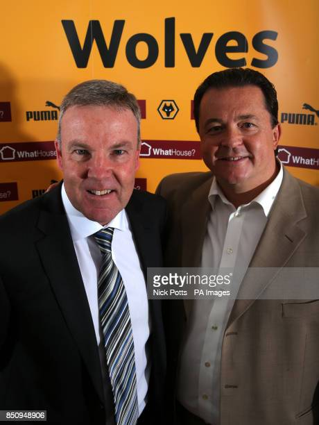New Wolverhampton Wanderers manager Kenny Jackett with Wolves Chief Executive Jez Moxey during the press conference at Compton Training Ground...