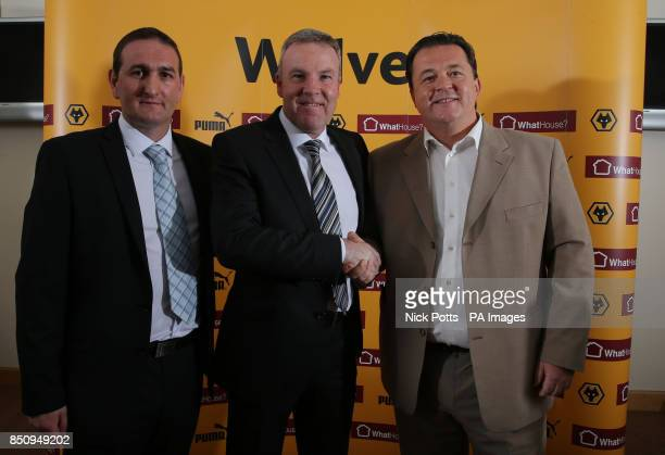 New Wolverhampton Wanderers manager Kenny Jackett with Wolves Chief Executive Jez Moxey and Head of Football Recruitment Kevin Thelwell during the...