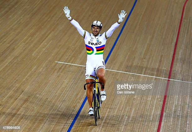 New World Champion Francois Pervis of France celebrates victory in the Men's UCI Sprint Final during Revolution 5 at the Velodrome in the Lee Valley...