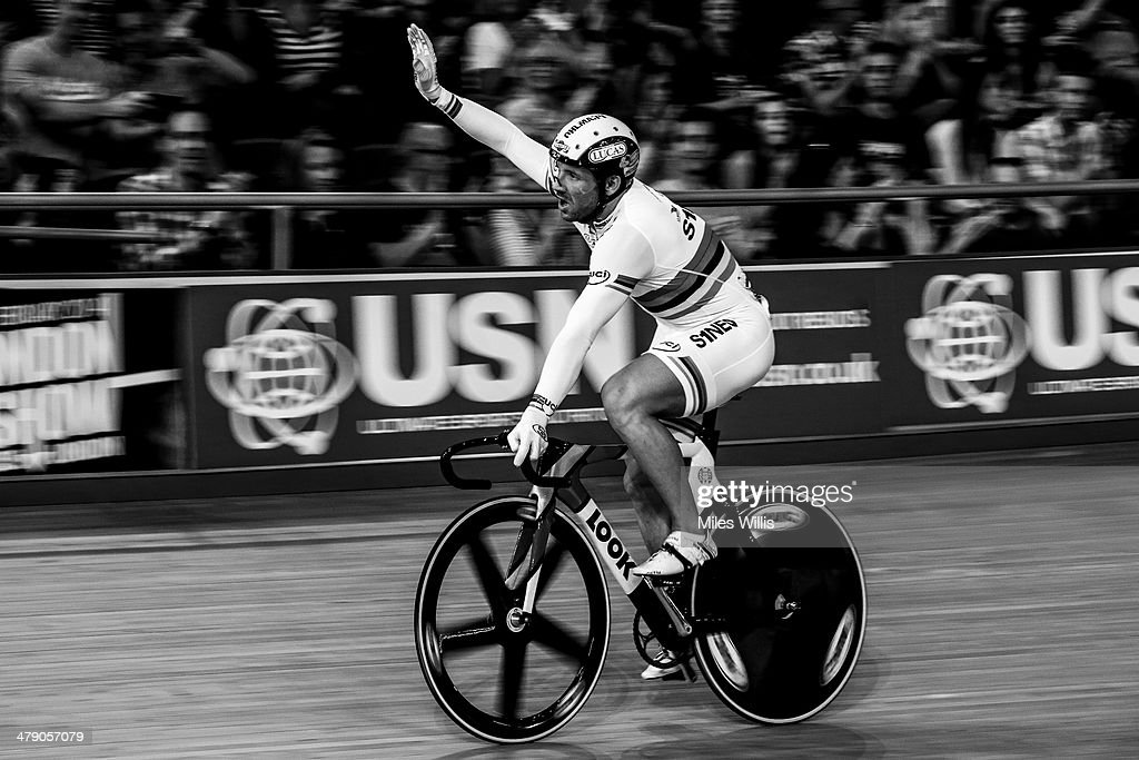 New World Champion <a gi-track='captionPersonalityLinkClicked' href=/galleries/search?phrase=Francois+Pervis&family=editorial&specificpeople=227088 ng-click='$event.stopPropagation()'>Francois Pervis</a> of France celebrates winning the UCI Sprint Finals during Revolution 5 at the Lee Valley VeloPark on March 15, 2014 in London, England.