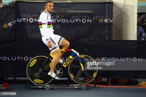 New World Champion Francois Pervis of France prepares to ride in Revolution 5 at the Lee Valley VeloPark on March 14 2014 in London England