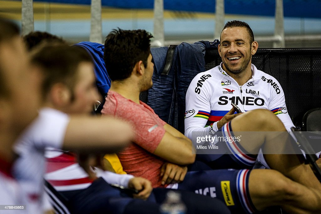New World Champion <a gi-track='captionPersonalityLinkClicked' href=/galleries/search?phrase=Francois+Pervis&family=editorial&specificpeople=227088 ng-click='$event.stopPropagation()'>Francois Pervis</a> of France smiles during Revolution 5 at the Lee Valley VeloPark on March 14, 2014 in London, England.