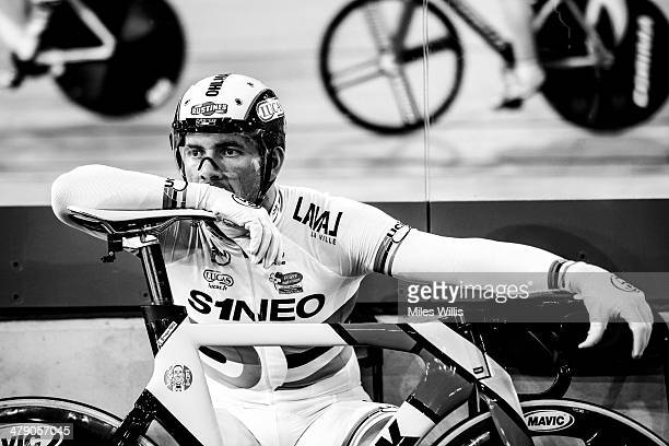 New World Champion Francois Pervis of France waits to compete in the UCI Sprint Finals during Revolution 5 at the Lee Valley VeloPark on March 15...