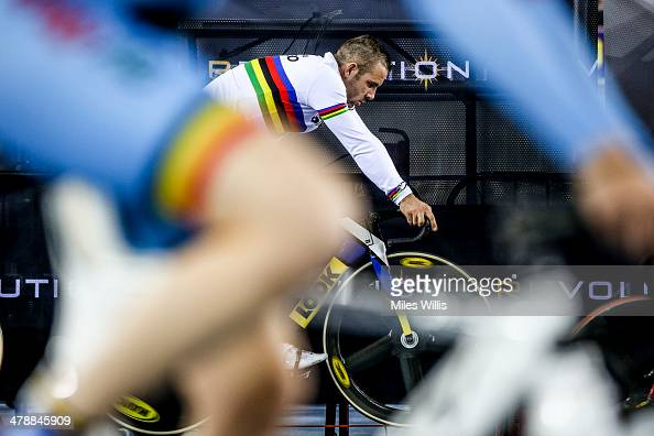 New World Champion Francois Pervis of France warms up prior to racing during Revolution 5 at the Lee Valley VeloPark on March 14 2014 in London...