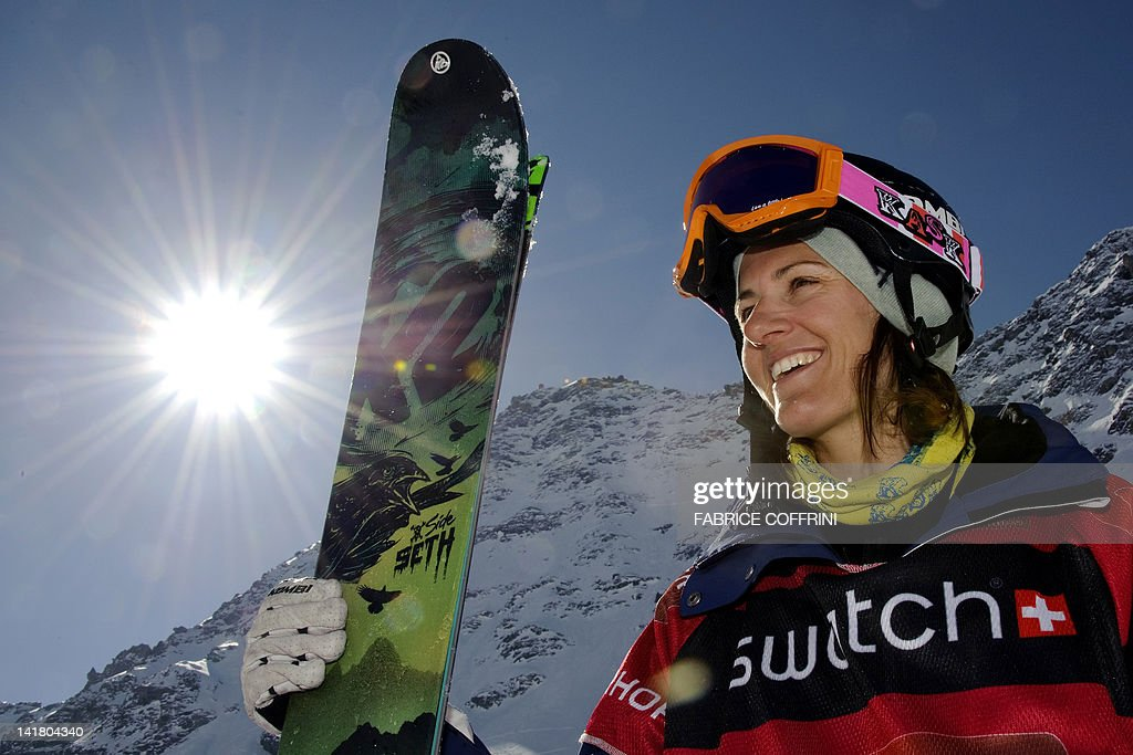 New World champion in the women's ski event, Sweden's Christine Hargin smiles after she competed on the Bec de Rosses mountain during the Xtreme Freeride World Tour final on March 24, 2012 above the Swiss Alps resort of Verbier.