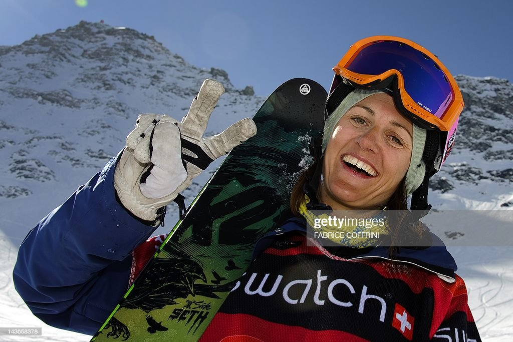 New World champion in the women's ski event, Sweden's Christine Hargin poses after she competed on the Bec de Rosses mountain during the Xtreme Freeride World Tour final on March 24, 2012 above the Swiss Alps resort of Verbier.