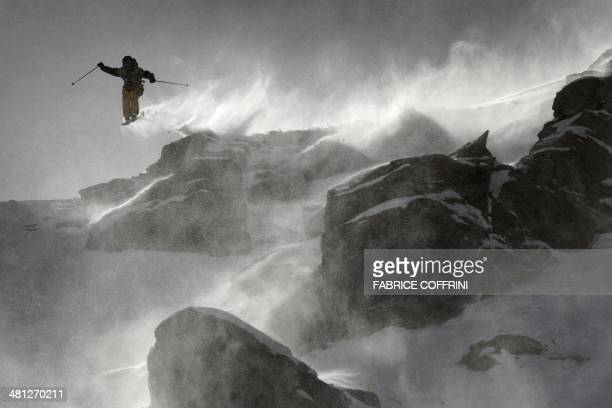 New World Champion of the Men's ski event at the Freeride World Tour France's Loic CollombPatton competes on the Bec de Rosses mountain during the...