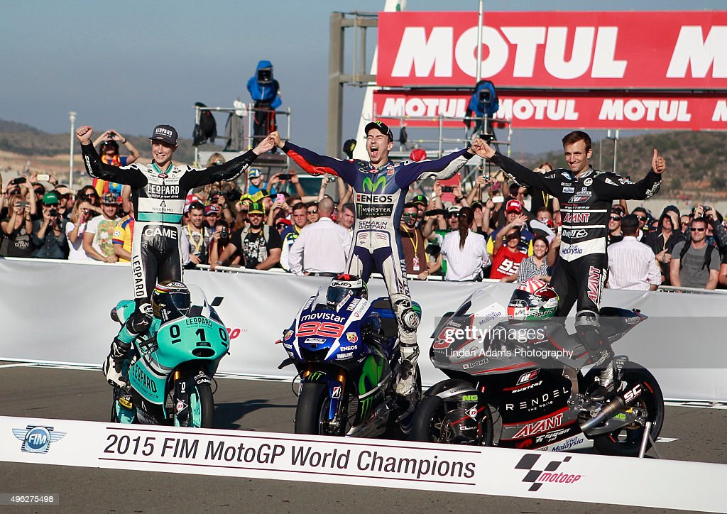 New World Champions Briton <a gi-track='captionPersonalityLinkClicked' href=/galleries/search?phrase=Danny+Kent&family=editorial&specificpeople=7260420 ng-click='$event.stopPropagation()'>Danny Kent</a> - Moto3, Spain's <a gi-track='captionPersonalityLinkClicked' href=/galleries/search?phrase=Jorge+Lorenzo&family=editorial&specificpeople=543869 ng-click='$event.stopPropagation()'>Jorge Lorenzo</a> - MotoGP and France's Johan Zarco - Moto2 at Comunitat Valenciana Ricardo Tormo Circuit on November 8, 2015 in Valencia, Spain.