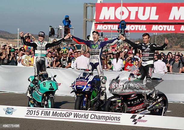 New World Champions Briton Danny Kent Moto3 Spain's Jorge Lorenzo MotoGP and France's Johan Zarco Moto2 at Comunitat Valenciana Ricardo Tormo Circuit...