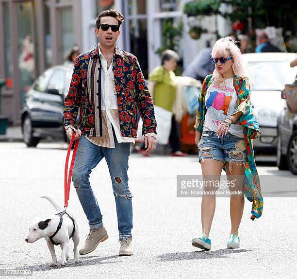 New X factor judge Nick Grimshaw is pictured celebrating with celebrity friends Pixie Geldof and Daisy Lowe on June 16 2015 in London England