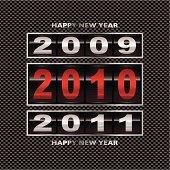New year 2010 with carbon fiber background and ticker counter