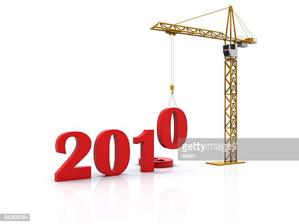 New Year 2010 with crane lowering numbers