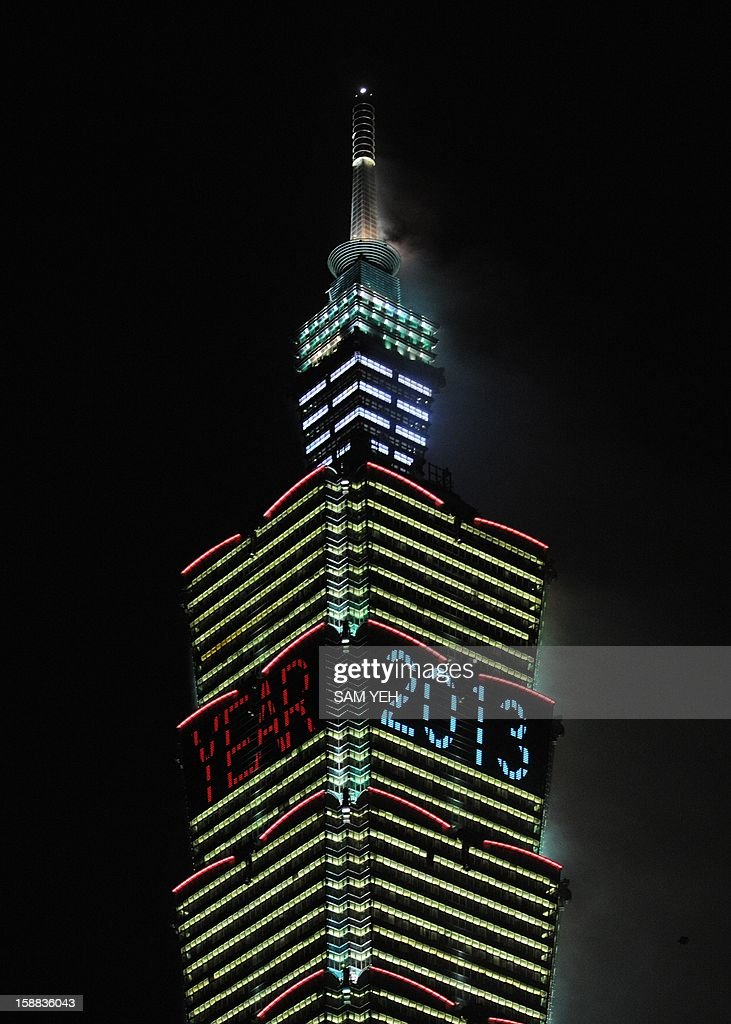 New Year 2013 is shown on the Taipei 101 building to mark the new year in Taipei on January 1, 2013. In line with the countdown will be a 188-second firework show to be presented by the Taipei 101, a 509-metre-high skyscraper and once the world's tallest building which is just hundreds of metres away from the city hall square. AFP PHOTO / Sam Yeh