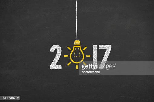 New Year 2017 Idea Concept on Chalkboard Background : Foto stock