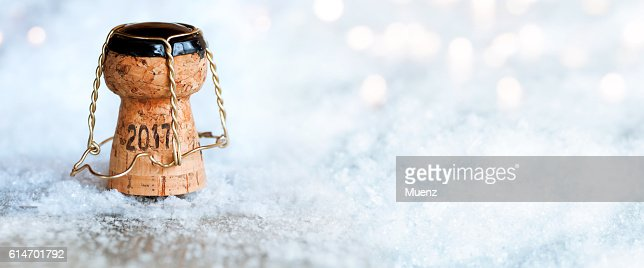 New Year 2017 with a champagne cork : Stock Photo