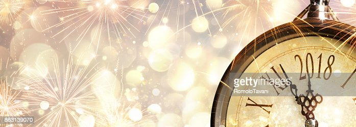 New Year 2018 Celebration With Dial Clock : Stock Photo