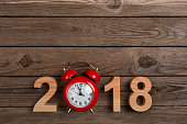 New year 2018, clock counting down