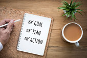 New year 2018 goal,plan,action text on notepad.Business motivation,challenge concepts ideas