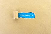 Text Goals 2018 on Torn Paper