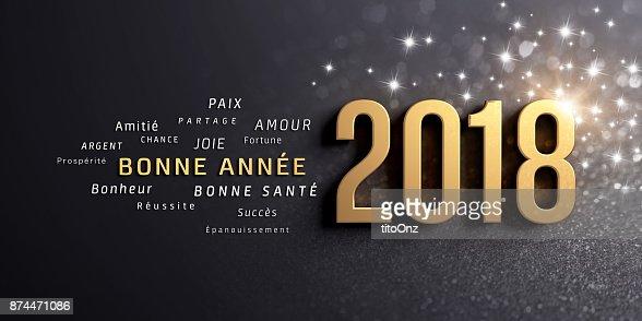 Tarjeta de felicitación de año nuevo 2018 en francés : Foto de stock