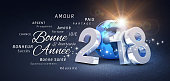 New Year date 2018 composed with a blue planet earth and greeting words in French - 3D illustration