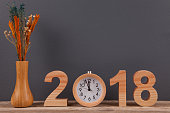 New Year 2018 on Wooden Desk