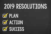 New Year 2019 Resolutions on Chalkboard Background
