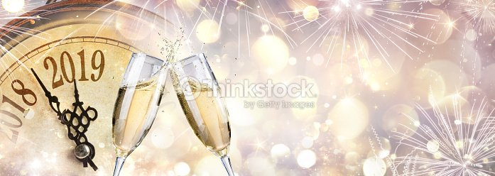 New Year 2019 - Toast With Champagne And Clock : Stock Photo