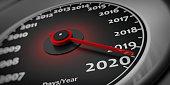 2020 new year and car. Car speedometer gauge closeup detail. 3d illustration