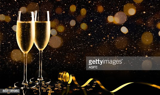 New year celebration with champagne : Stock Photo