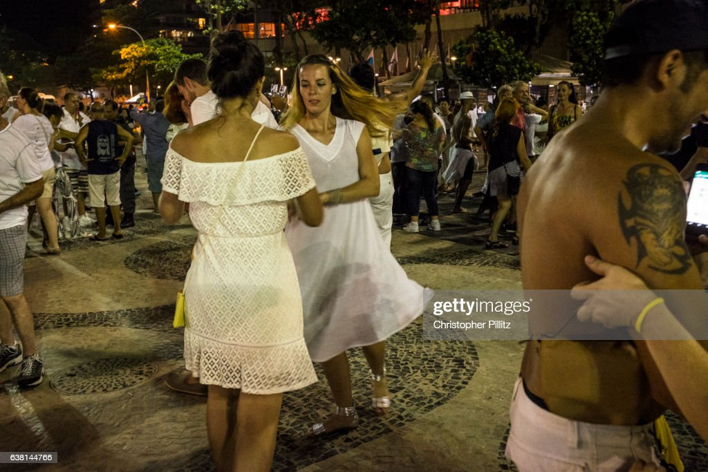 New Year celebrations on Copacabana beach : Foto de stock
