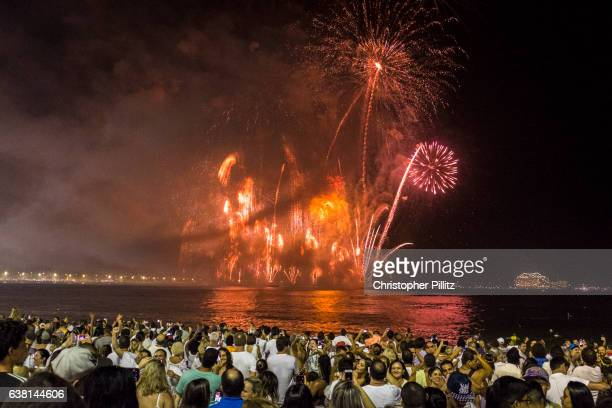 New Year celebrations over Copacabana beach.