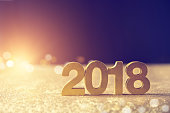 New year decoration 2018 with lighting effect and copy space.
