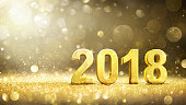 2018 Text 3d Rendering On Golden Glitter In The Dark