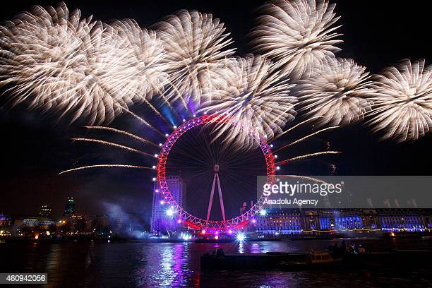 New Year firework display lights up the London skyline in Westminster London United Kingdom on January 1 2015
