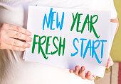 New Year Fresh Start on white paper