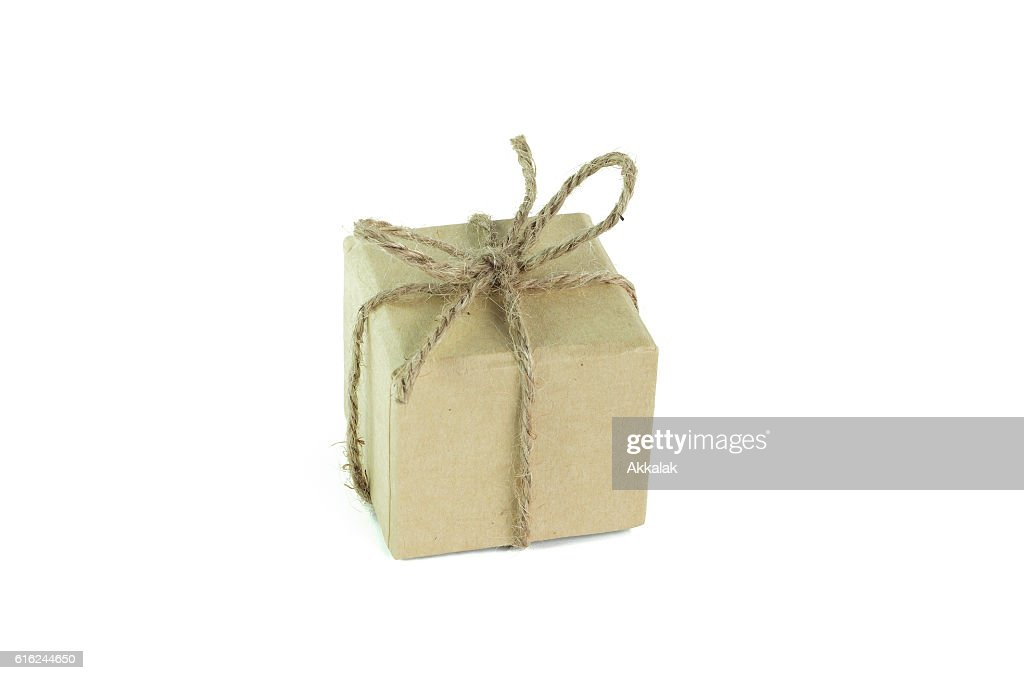 New year gift box or christmas paper box : Stock Photo
