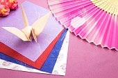 New Year image 'Folded paper crane' and 'Folding fan'