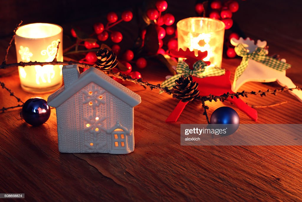 new year pine cone candle table : Stock Photo