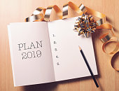 2019 New Year plan with gold decoration. We wish you a new year filled with wonder, peace, and meaning.